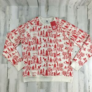 Winter Water Factory Adult Winter Scenic Red Sweatshirt  Holiday Organic L NEW
