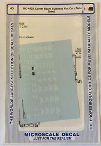 MICROSCALE HO DECAL MINICAL - CENTER BEAM BULKHEAD FLAT CAR DATA #MC-4035
