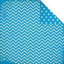 BoBunny 12x12 papel scrapbooking Doble Punto Chevron azul brillante X 2 Hojas