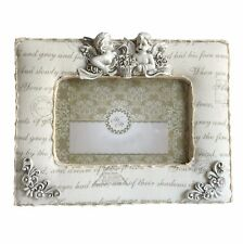"""Angel Padded Fabric Sculpture Shabby Chic Free-standing 6"""" x 4"""" Photo Pic Frame"""