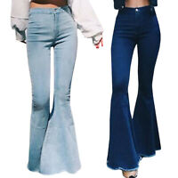 Women Jeans High Waist Flared Pants Leggings Trousers Casual Bell Bottoms Basic