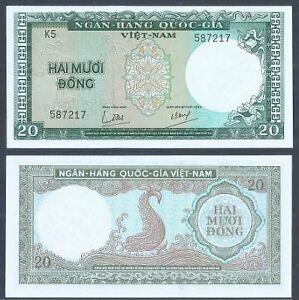 Vietnam 20 Dong 1964 (UNC) 全新 越南 20盾 1964年 K5 587217