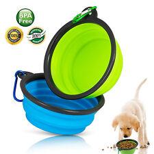 2pcs Pet Dog Silicone Collapsible Travel Feeding Bowl Food Water Dish Feeder-AU