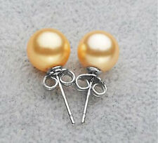 8/10/12/14MM Round South Sea Shell Pearls Silver Stud Earrings