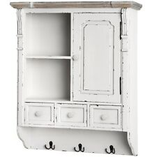 COUNTRY STYLE SHABBY CHIC ANTIQUE WHITE WALL STORAGE CUPBOARD CABINET (H13432)