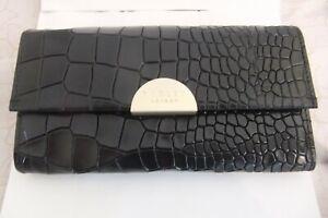 Radley Oakwood Lane Credit Card and Notes Wallet Purse Black Mock Croc Leather