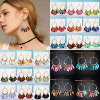 7 Chakra Earrings Women Handmade Natural Stone Tube Beaded Ear Hook Drop Dangle