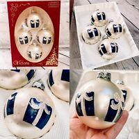 Vtg RAUCH VICTORIA Christmas Ornament Glass Ball Navy Presents Bows W/box USA