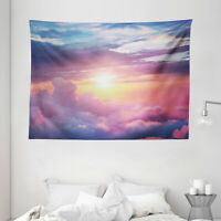 Sun Tapestry Surreal Sky Fluffy Clouds Print Wall Hanging Decor 80Wx60L Inches