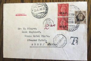 George VI Envelope Postmark Asharo Centro Eritrea to Aden 25 Feb 1946 M E F