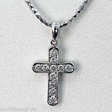 ".15 Carat Diamond Cross Pendant F Vs1 18k White Gold 18"" long chain"