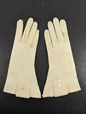Vintage Ladies Gloves Ecru Off White Cream Size 6 Women Small Button Short