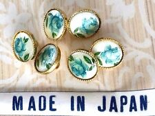 """3/8"""" Vintage Glass buttons,Floral Buttons,Limoges Buttons,Flower buttons #1361R"""