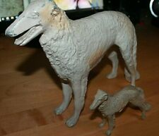 Vintage/Antique Painted Metal Borzoi Russian Wolfhound dogs