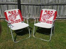 VINTAGE SET OF ALUMINUM LAWN CHAIRS DETROIT RED WINGS MACRAME WEBBING