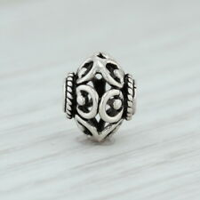 Floral Bead Charm - Sterling Silver Jewelry Making Crafting 925