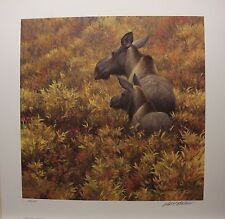 Robert BATEMAN Fall Forage Moose Cow and Calf LTD art print Mint in folder COA
