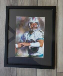 🔥 Vintage Football DAN MARINO Miami Dolphins Framed Matted Limited Print SWEET