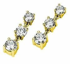 1.10 ct 3 stone Brilliant Round cut Diamond Dangle Earring 14K Yellow Gold, F-G