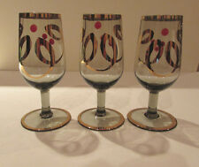 Gold Decorated Smokey Glass Cordials (3) - Vintage 1950 - 1960
