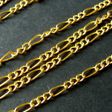 10 METERS GOLD PLATED LINK-OPENED FIGARO STYLE CHAIN