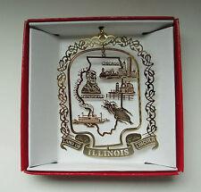 Illinois Brass Ornament State Landmarks Travel Souvenir Gift