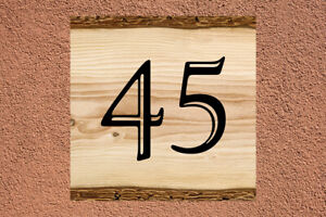 """6"""" Square Wood Effect House number name sign 3mm PVC 1-50 all numbers available"""