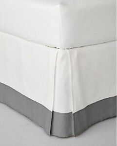 Two Tone Bed skirt 100% Cotton Extra Deep pocket UK Collection White-Light Grey