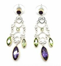 & Gold Chandelier Post Earrings Michou Peridot & African Amethyst Silver