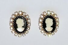 2853~Vintage Signed CORO Gold Tone Rhinestone Ladies Head CAMEO Clip Earrings**