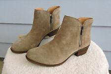 Women's Lucky Brand Breah Beige Leather Ankle Boots Size 12M