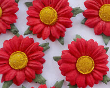 ✿ GORGEOUS HANDMADE MULBERRY PAPER RED DAISIES X 12 ✿ 2.8 cm WEDDING INVITATIONS