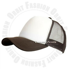 Trucker Hat Foam Front Mesh Baseball Cap Solid Plain Snapback Hats Curved Visor
