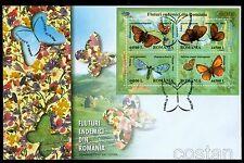 2002 Romanian Butterflies,Schmetterlinge,Papillons,Farfalle,Romania,Bl.322,FDC