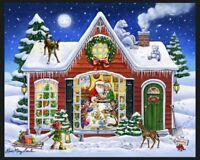 Santa's House Christmas Fabric Panel