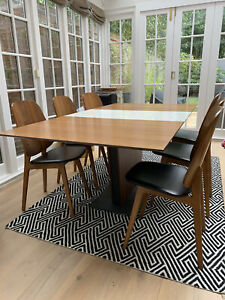 Bo concept Extendable table With Six Walnut Chairs (RRP When New £3200)