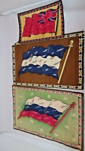 VINTAGE LOT OF 3 TOBACCO CIGARETTE CIGAR FELT FLAGS - EARLY 1900'S
