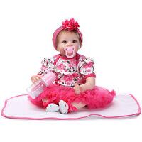 Lifelike Baby Girl Doll Silicone Vinyl Reborn  Doll Bambole Handmade Gift 22''