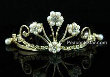Wedding Flower Girl Crystal Faux Pearl Gold Mini Tiara Comb