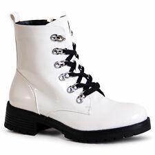 Ladies Platform Ankle Boots Worker Biker Boots Patent Boots Lace up Boots