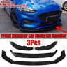 3PCS Matte Black Front Bumper Lip Cover Trim Spoiler For Ford Focus ST 2019