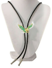 Men's Bolo Tie Turquoise Eagle with Black Leatherette - 18 inch hang