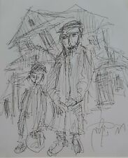 MOSHE BERNSTEIN (1920-2006), Ink on Paper, Father and Son in The Shtetl