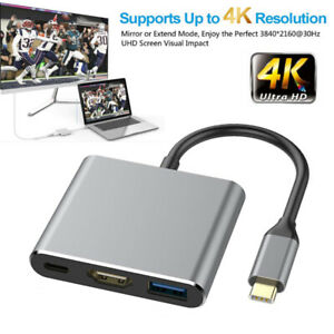 Type C to USB-C 4K HDMI USB 3.0 3 in 1 Hub Adapter Cable For Macbook Samsung