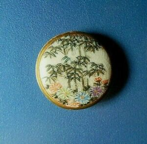 Antique Painted SATSUMA Ceramic Button-Bamboo Forest/Flowers 1-1/16""
