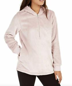 Ideology NWT Women's Faux-Fur Velour Quarter-Zip Hoodie Sweatshirt Pink S, M, L