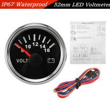 IP67 52mm Car Boat Pointer Backlight LED Voltmeter Gauge Black Face+Silver Case