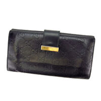 Gucci Wallet Purse Long Wallet Guccissima Black Gold Woman Authentic Used S260