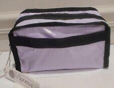 Nwt, LeSportsac Gabrielle, Lilac Patent Nylon, Black Trim Cosmetic,Travel Bag