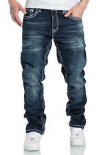 Herren Dicke Nähte Destroyed Jeans Regular Slim Denim Hose Fit 7983WC